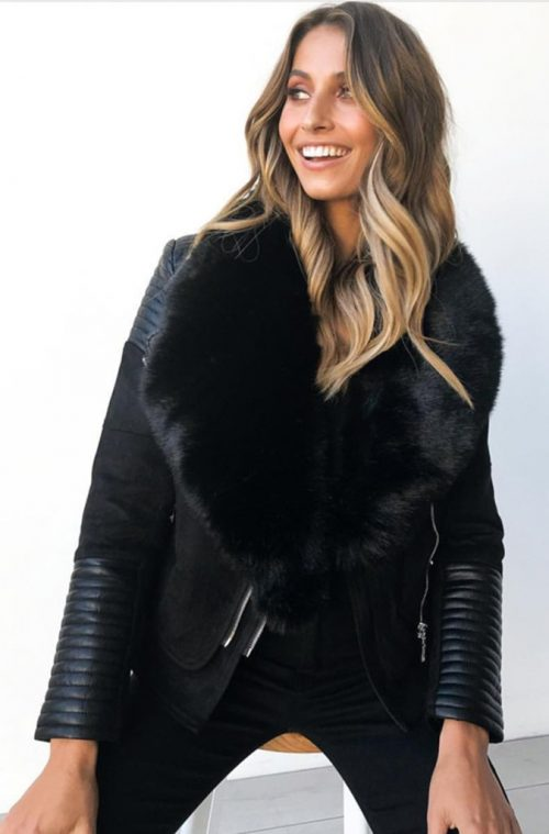 Bessy Fur Collar Biker Jacket | Black | Ivory and Chain | Harry & Gretel Doubleview | Jackets