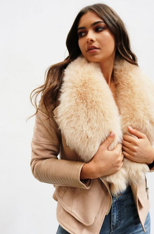 Bessy Fur Collar Biker Jacket | Nude | Ivory and Chain | Harry & Gretel Doubleview | Jackets