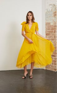 Hibiscus Golden Midi dress by Bec & bridge available at Harry and Gretel