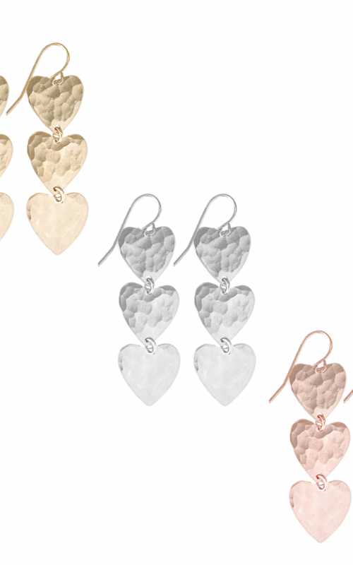 Farrah Triple Heart Earring | Misuzi | Harry & Gretel | Earring