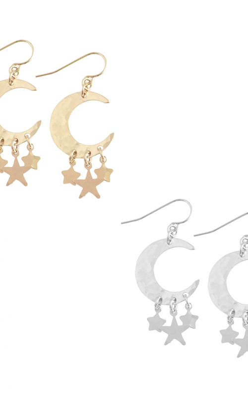 Large Moon with Triple Star Earring | Misuzi | Harry & Gretel | Earring