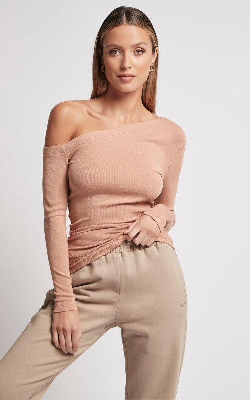 One Shoulder Rib Long Sleeve | Sofia | Harry & Gretel | Ribbed | Top