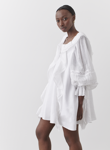 Gretal Linen Ramie Crochet Cotton Smock Dress | Joslin| Harry & Gretel | Dress