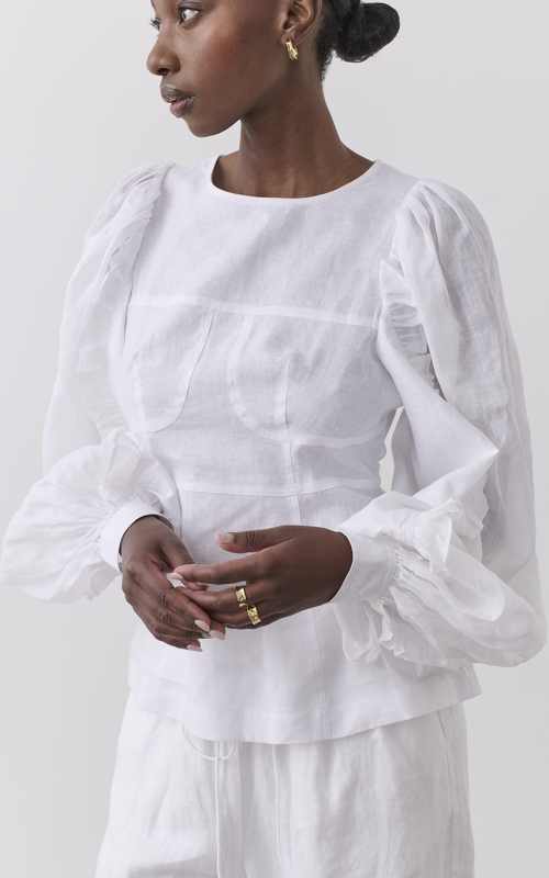 Marva Linen Ramie Blouse | Harry & Gretel Perth | Joslin | Top | Linen top