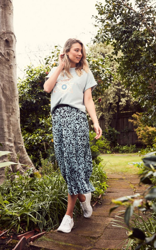 The Sunray Skirt Dusty Blue Animal | The Others | Harry & Gretel Perth |