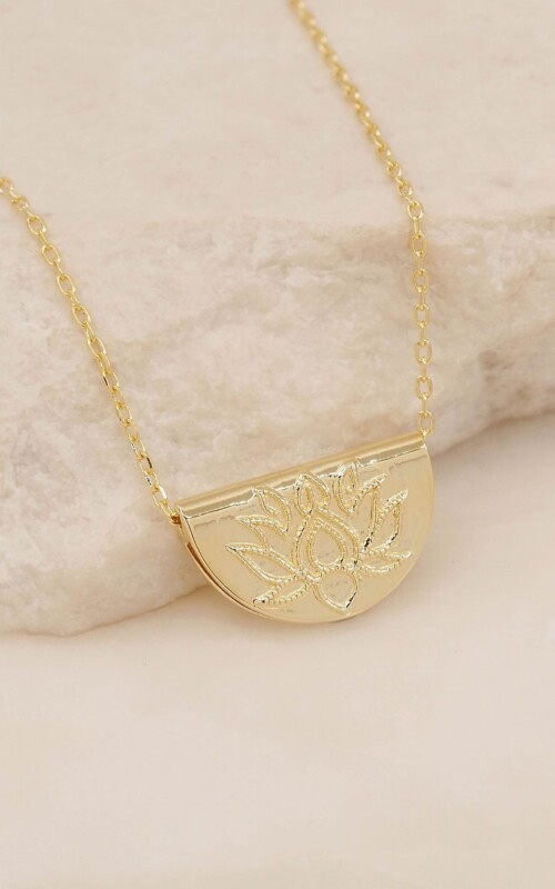 Lotus Necklace Gold | By Charlotte | Harry & Gretel Perth | Jewellery |